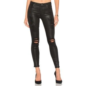 7 For All Mankind Ankle Skinny Black Coated Jeans